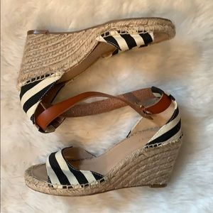 Navy and white striped espadrilles
